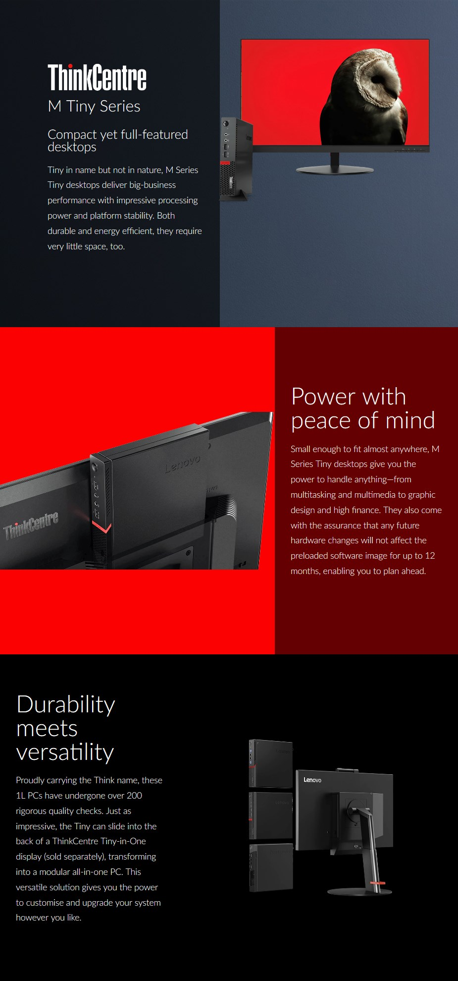 Lenovo ThinkCentre M920 Tiny PC i7-9700T 8GB 256GB WiFi+BT Win10 Pro - Desktop Overview 1