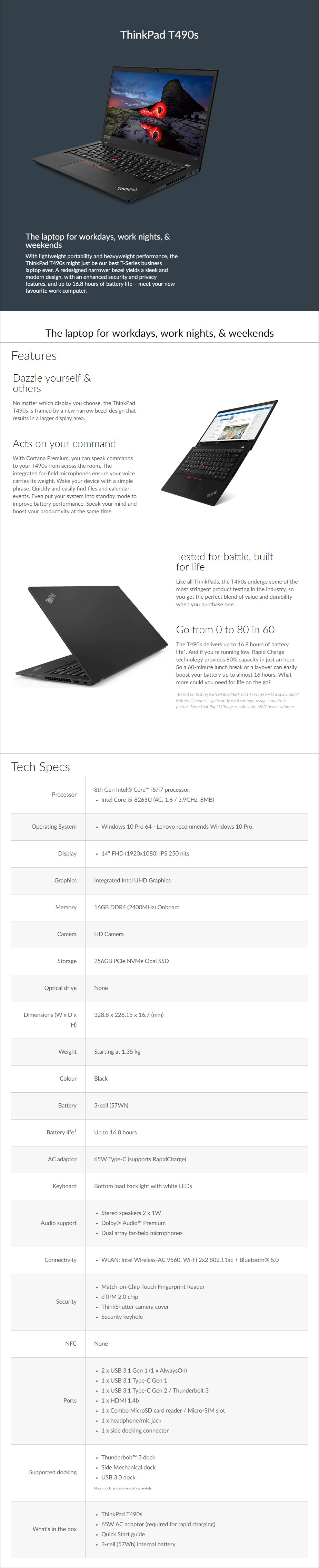 "Lenovo ThinkPad T490s 14"" Laptop i5-8265U 16GB 256GB SSD W10P - Overview 1"