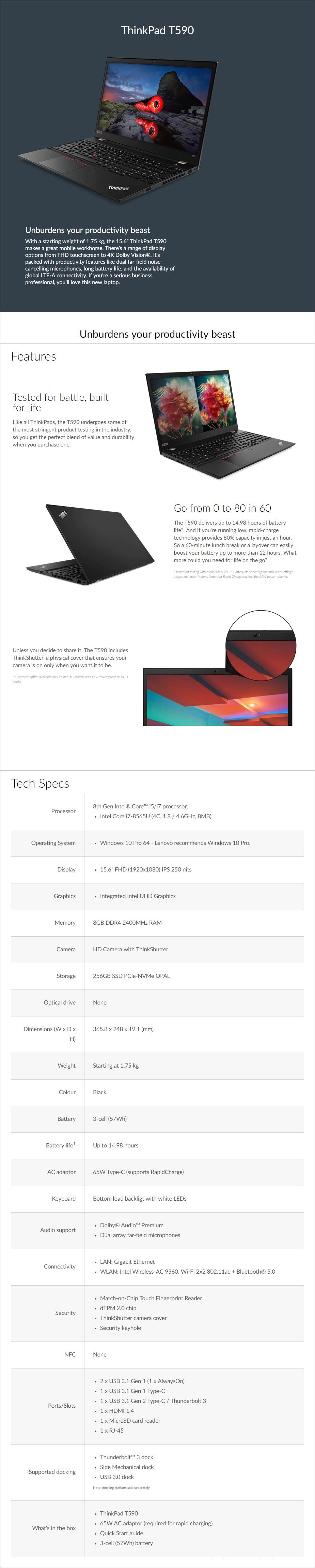"Lenovo ThinkPad T590 15.6"" Laptop i7-8565U 8GB 256GB SSD W10P - Overview 1"