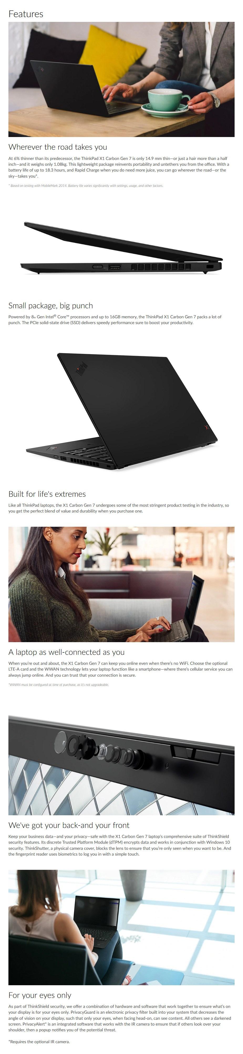 "Lenovo ThinkPad X1 Carbon G7 14"" Laptop i7-8565U 16GB 1TB W10P - Overview 1"