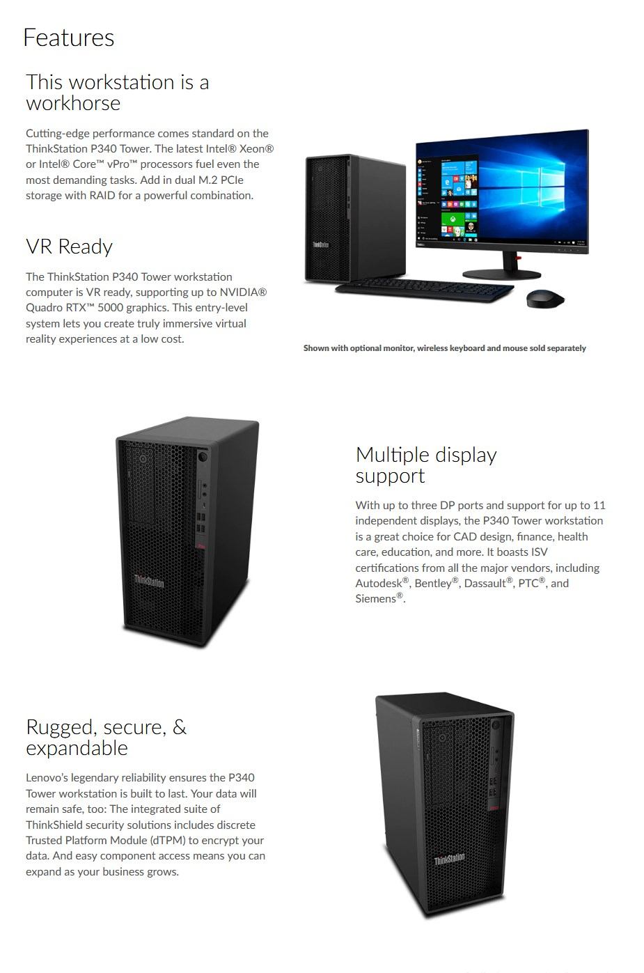 Lenovo ThinkStation P340 Tower Workstation i7-10700 16GB 1TB Quadro RTX4000 W10P - Overview 1