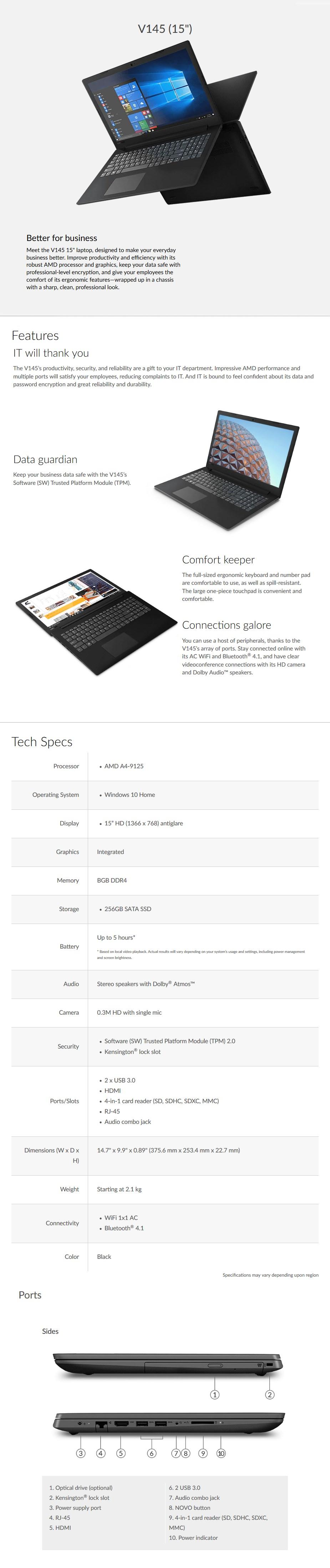 """Laptop V145 15.6"""" Laptop A4-9125 8GB 256GB SSD W10H - Overivew 1"""