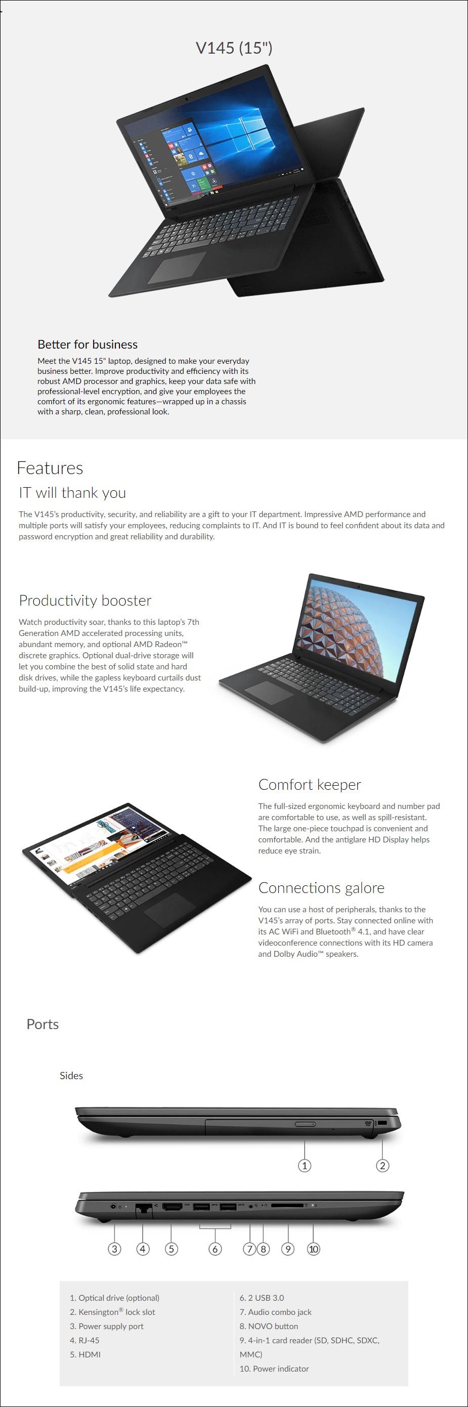 "Lenovo V145 15.6"" Laptop E2-9000 8GB 1TB HDD W10H - Overview 1"