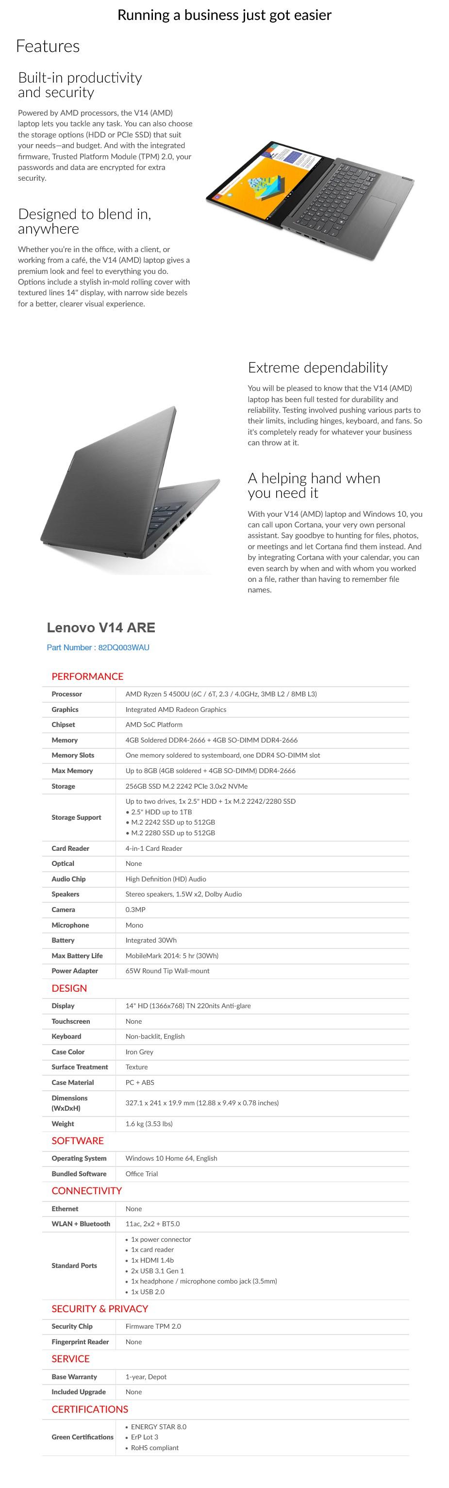 "Lenovo V14-ARE 14"" Laptop R5-4500U 8GB 256GB Win10 Home - Desktop Overview 1"