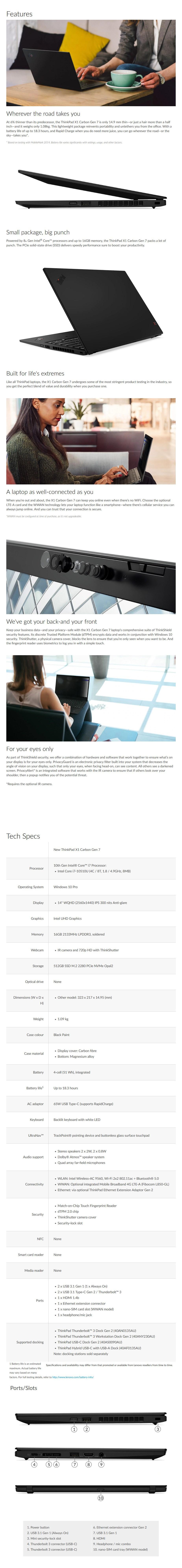 "Lenovo X1 Carbon 7th Gen 14"" Laptop i7-10510U 16GB 512GB W10P - Overview 1"