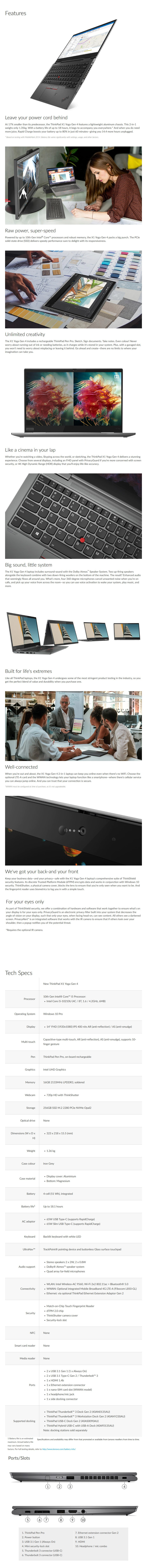 """Lenovo X1 Yoga 4th Gen 14"""" 2-in-1 Laptop i5-10210U 16GB 256GB W10P Touch - Overview 1"""
