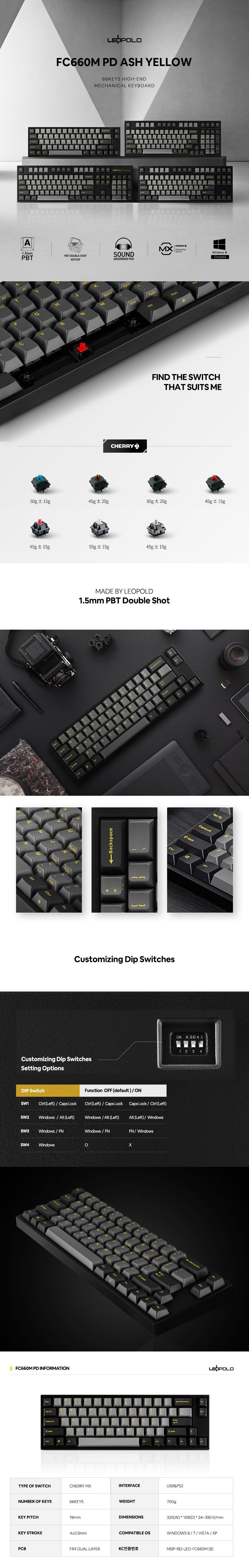Leopold FC660M Ash YF TKL Mechanical Keyboard - Overview 1