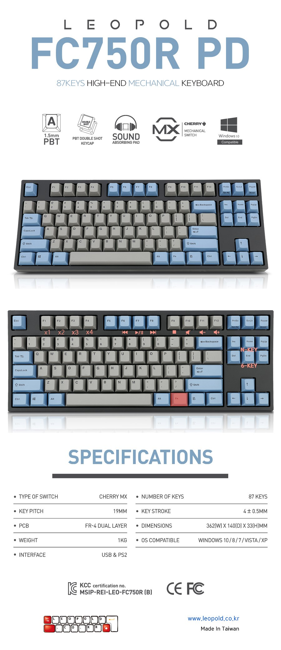 Leopold FC750R PD Blue/Grey TKL Mechanical Keyboard - Cherry MX Brown - Overview 1