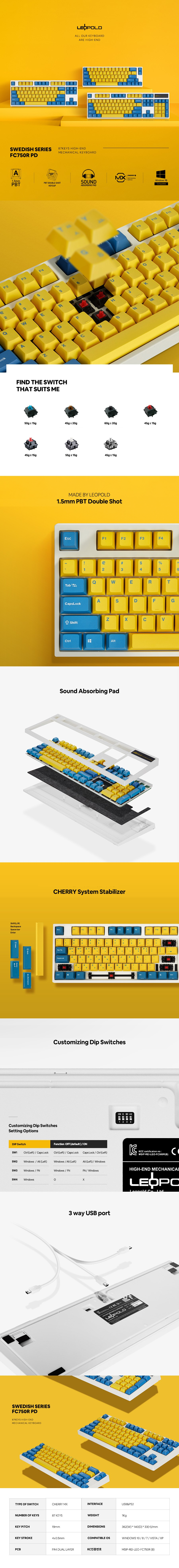 Leopold FC750R Yellow/Blue White TKL Mechanical Keyboard - Overview 1