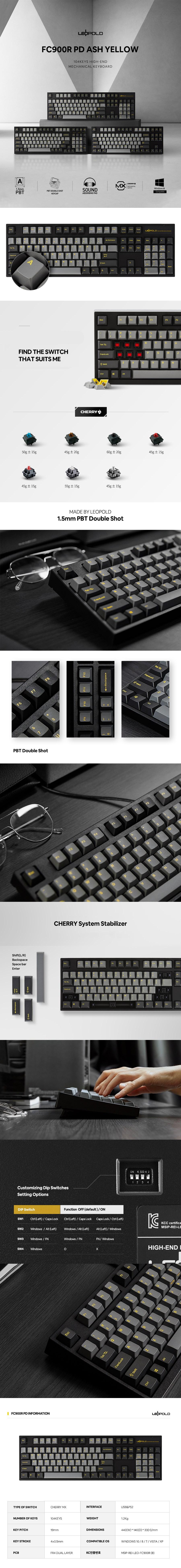 Leopold FC900R Ash YF Mechanical Keyboard - Overview 1