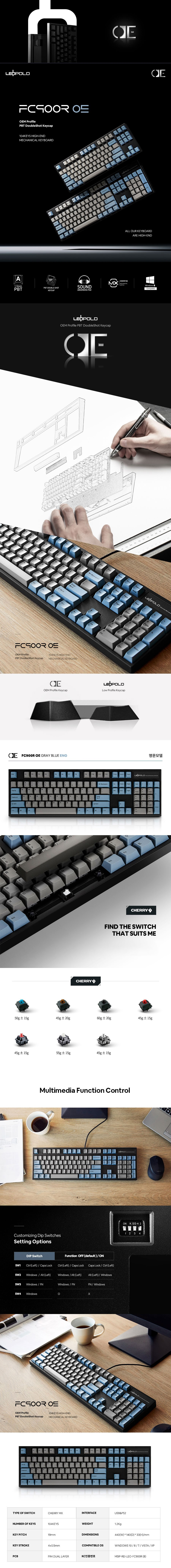Leopold FC900R OE Blue/Grey Two-Tone Mechanical Keyboard - Overview 1