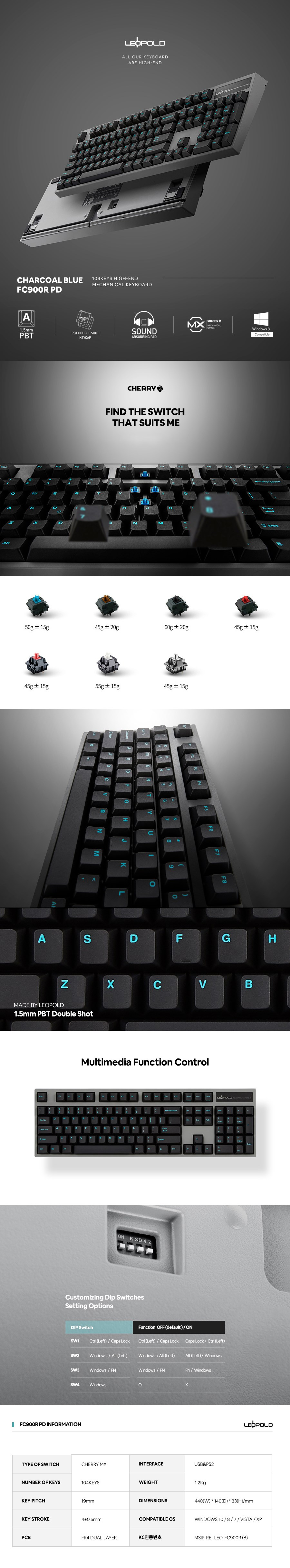 Leopold FC900R PD Charcoal/Blue Mechanical Keyboard - Overview 1
