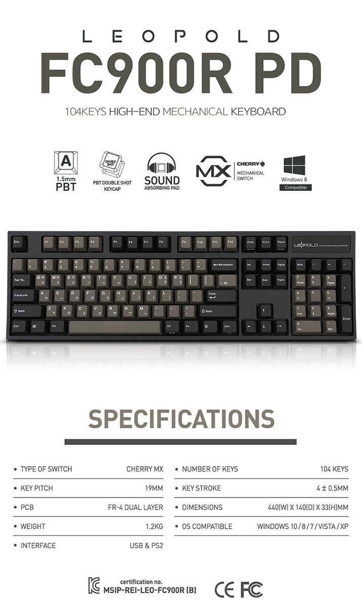 Leopold FC900R PD Dark Grey Two-Tone Mechanical Keyboard - Cherry MX Brown - Desktop Overview 1