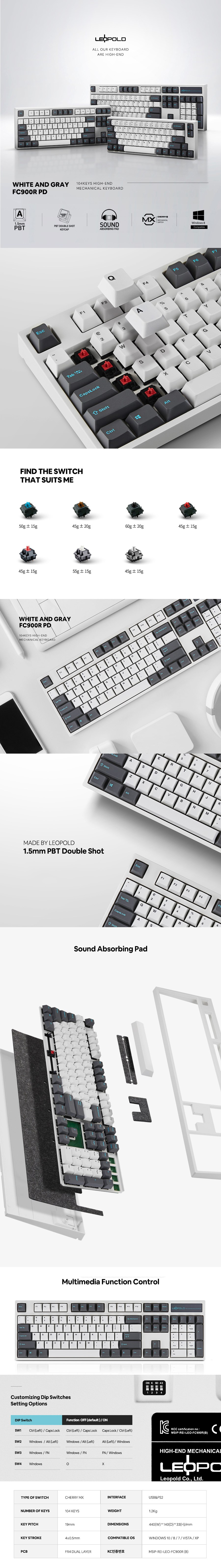Leopold FC900R PD Grey/White Two-Tone Mechanical Keyboard - Cherry MX Red - Overview 1