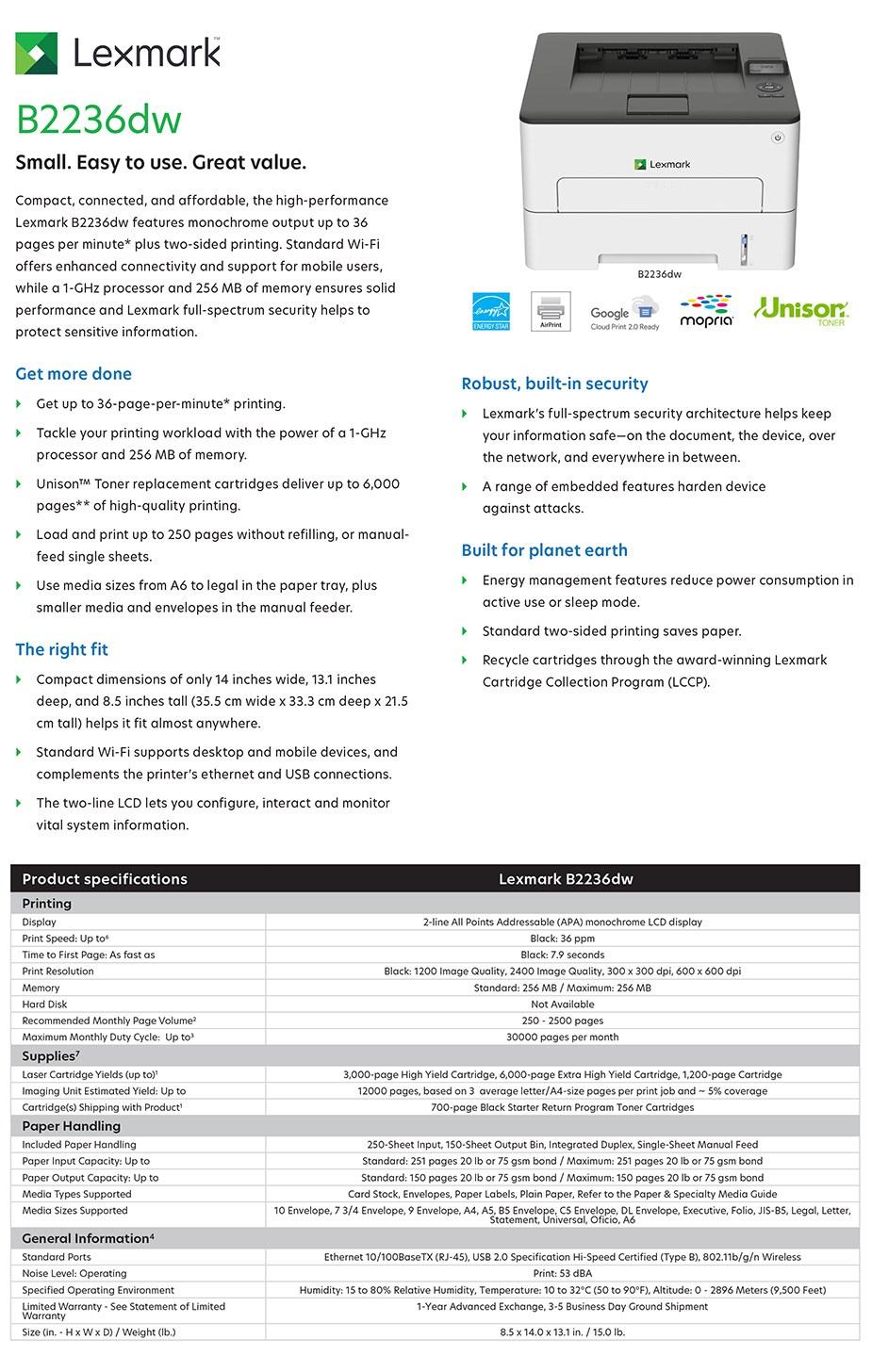 Lexmark B2236dw A4 Monochrome Multifunction Wireless Laser Printer - Overview 1