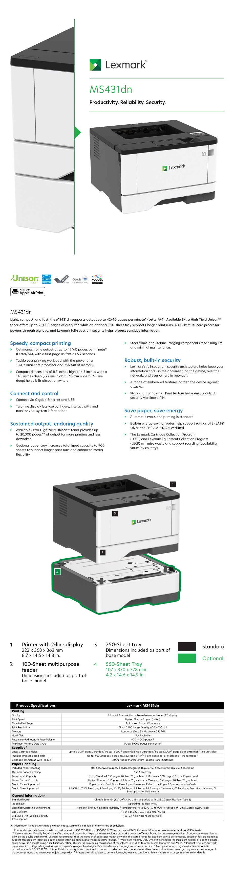 Lexmark MS431dn A4 Monochrome Laser Printer - Overview 1