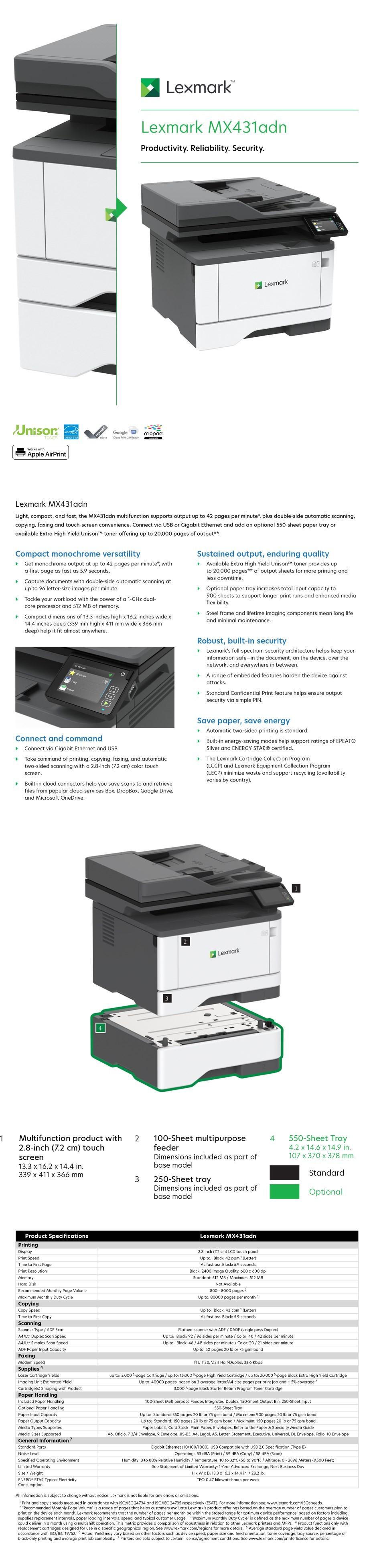 Lexmark MX431adn A4 Monochrome Laser Printer - Overview 1