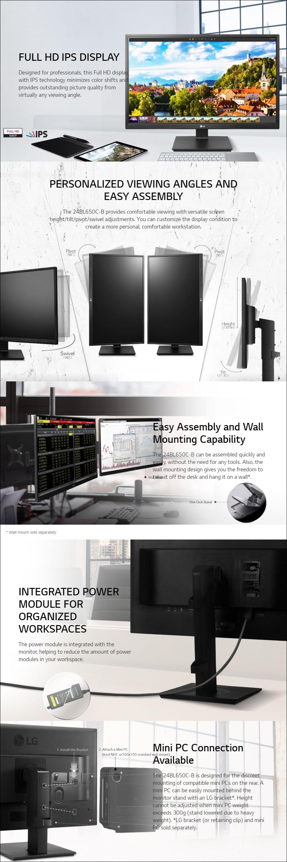 "LG 24BL650C-B 23.8"" Full HD Ergonomic IPS Business Monitor - Overview 1"