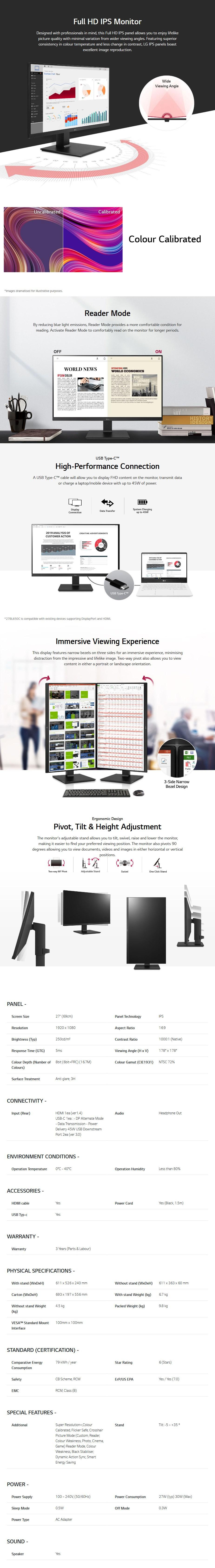 """LG 27BL650C-B 27"""" Full HD USB-C Calibrated Ergonomic IPS Monitor - Overview 1"""