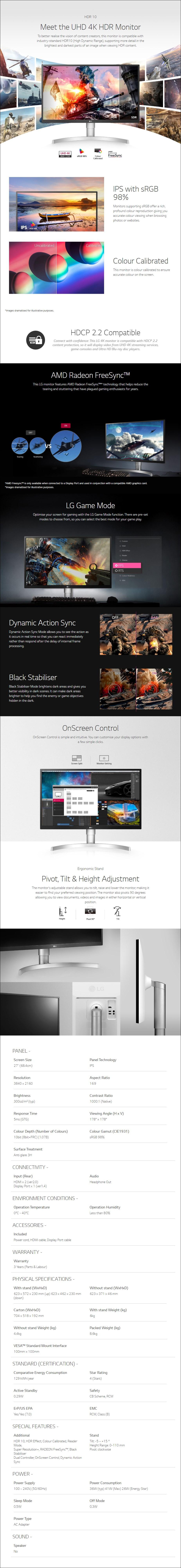 "LG 27UL550-W 27"" 4K UHD HDR10 98% sRGB Calibrated FreeSync IPS Monitor - Overview 1"