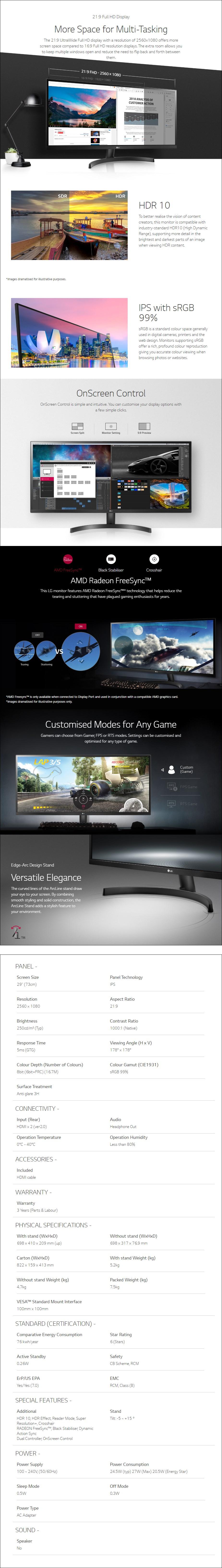 "LG 29WL500-B 29"" Ultra-Wide Full HD HDR10 sRGB 99% FreeSync IPS Monitor - Overview 1"