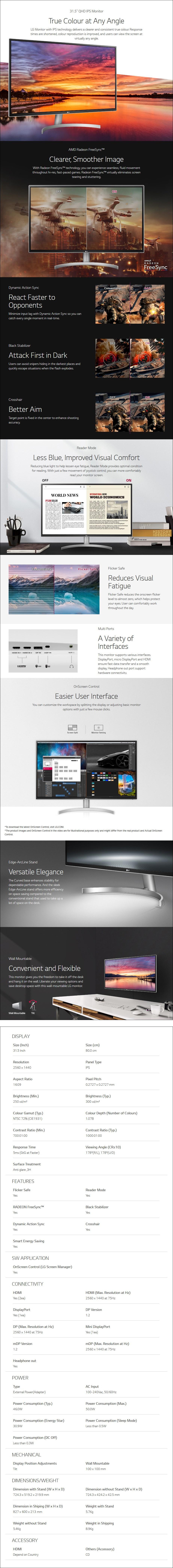 "LG 32QK500-C 31.5"" 75Hz QHD FreeSync IPS Monitor - Overview 1"