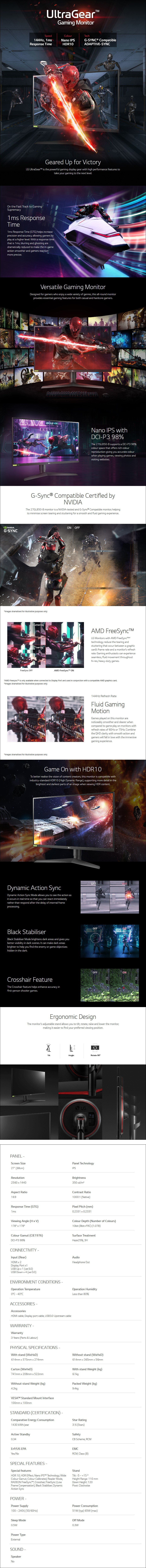 "LG UltraGear 27GL850 27"" 144Hz QHD 1ms HDR10 G-Sync Nano IPS Gaming Monitor - Overview 1"