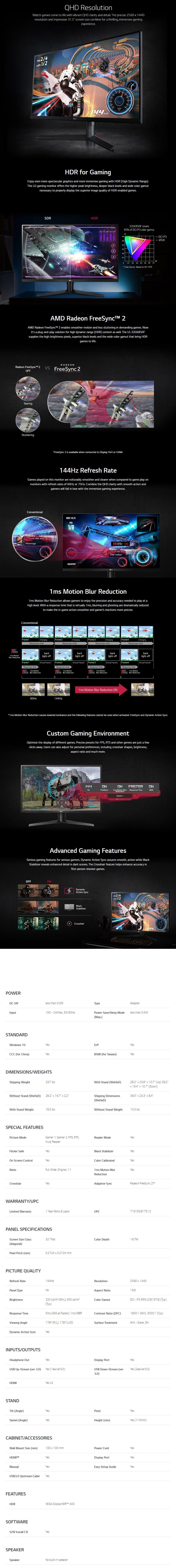 "LG UltraGear 32GK850F 31.5"" 144Hz QHD HDR 1ms FreeSync VA Gaming Monitor - Overview 1"