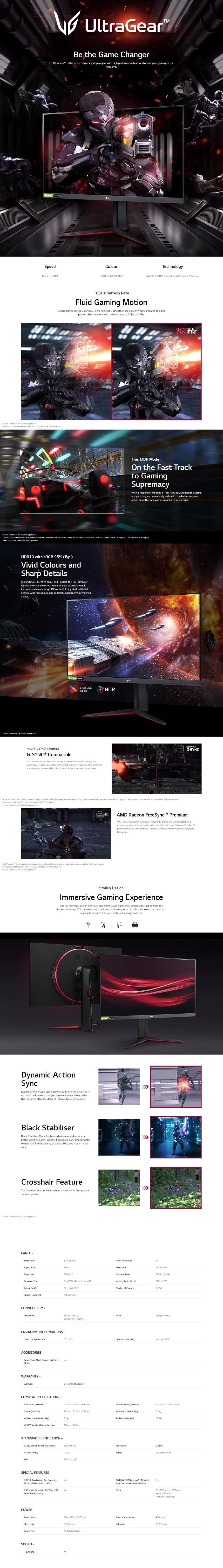 "LG UltraGear 32GN550-B 31.5"" 165Hz Full HD 1ms G-Sync Compat. VA Gaming Monitor - Overview 1"
