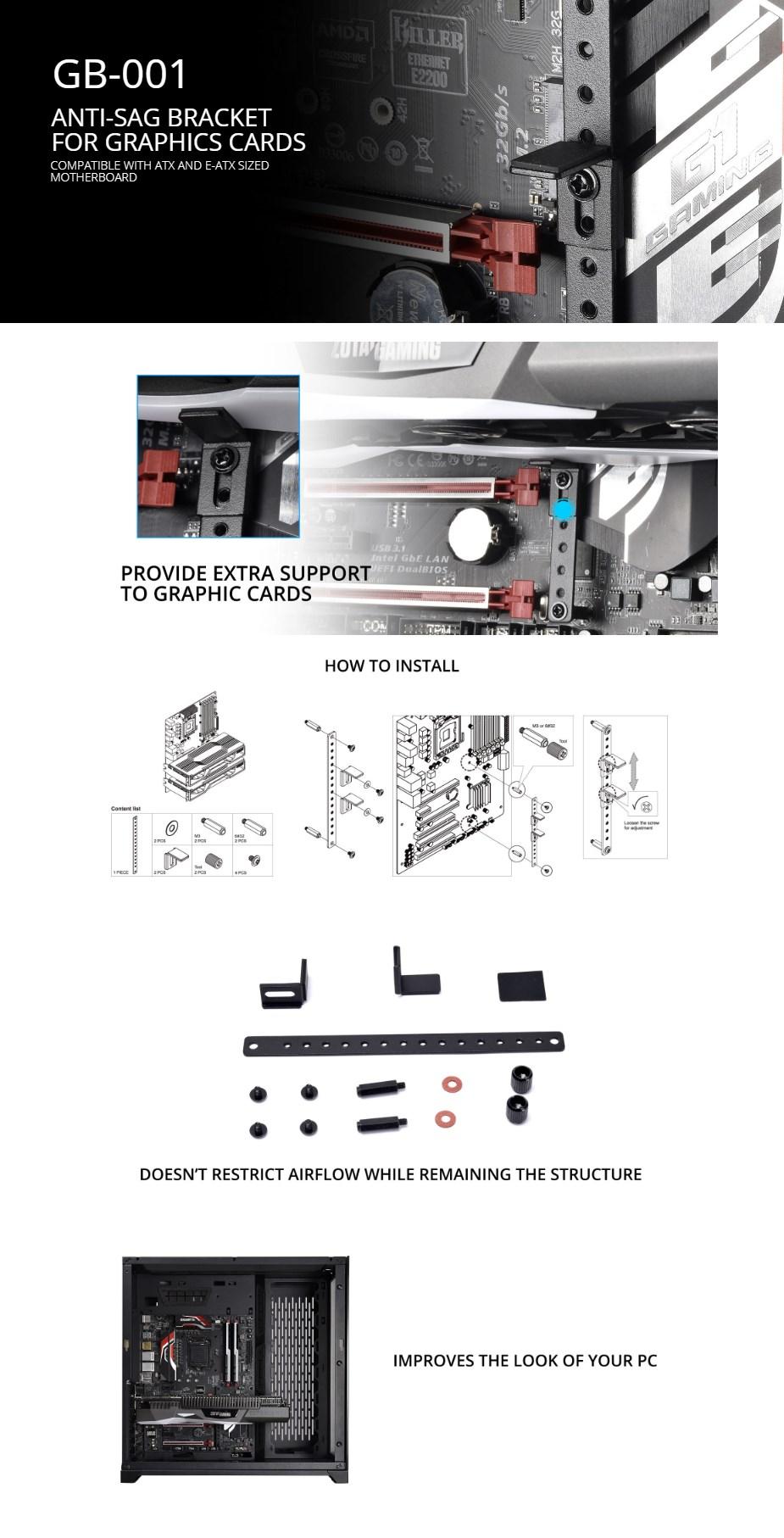 Lian-Li GB-001X Anti-Sag Graphics Cards Bracket - Black - Overview 1