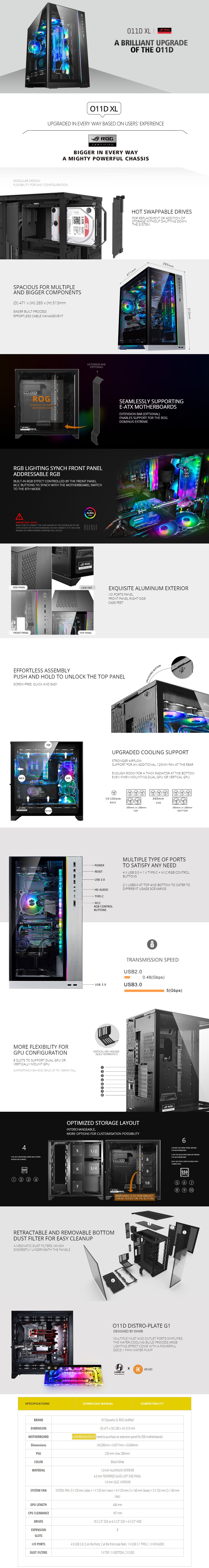 Lian-Li PC-011 Dynamic XL RGB Tempered Glass E-ATX ROG Full Tower Case - White - Overview 1