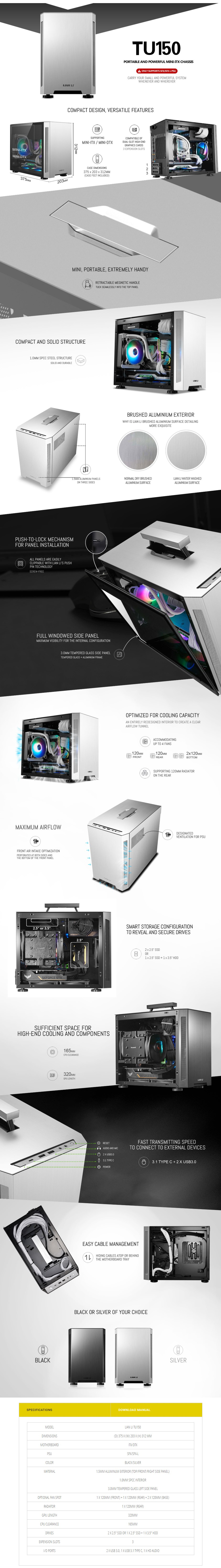 Lian-Li PC-TU150 RGB Tempered Glass Mini ITX Case - Black - Overview 1