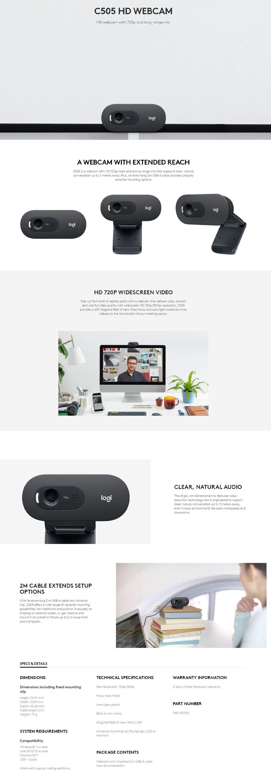 Logitech C505 HD USB Webcam - Overview 1