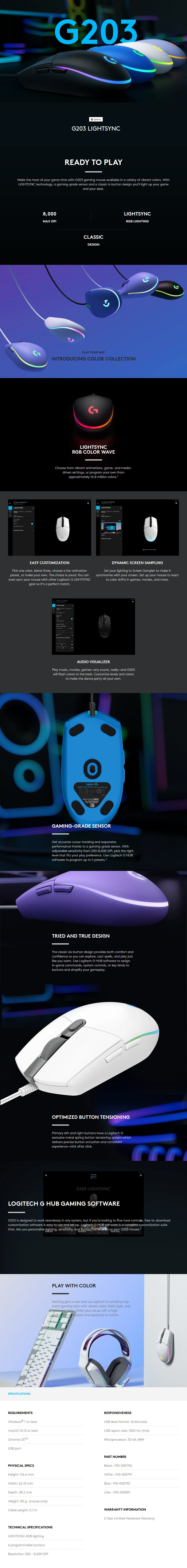 Logitech G203 LIGHTSYNC Gaming Mouse - Lilac - Overview 1