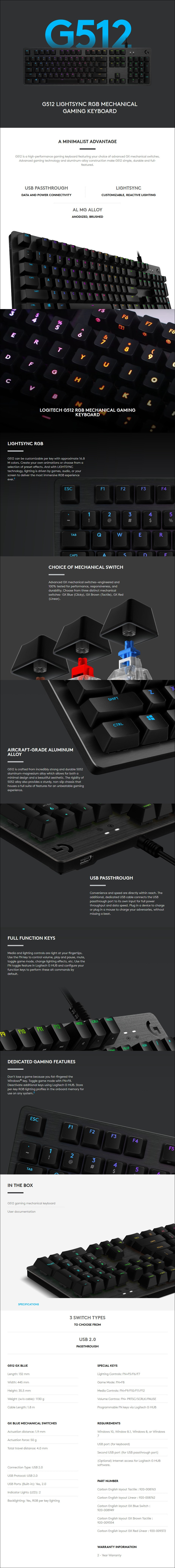 Logitech G512 Carbon RGB Mechanical Gaming Keyboard - GX Brown Tactile - Overview 1