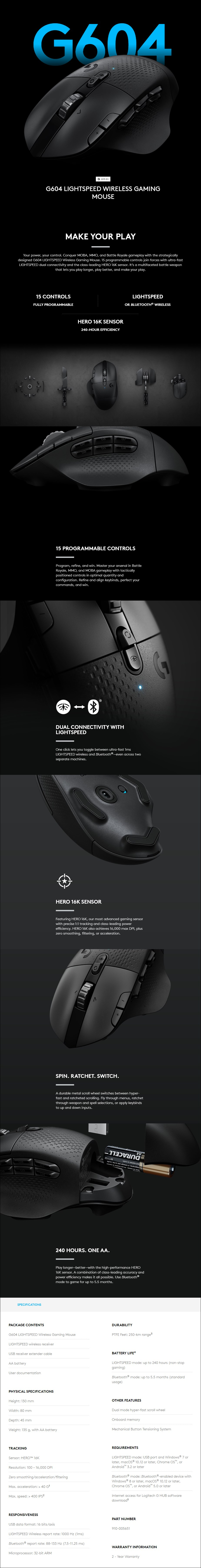 Logitech G604 LIGHTSPEED Wireless Gaming Mouse - Overview 1