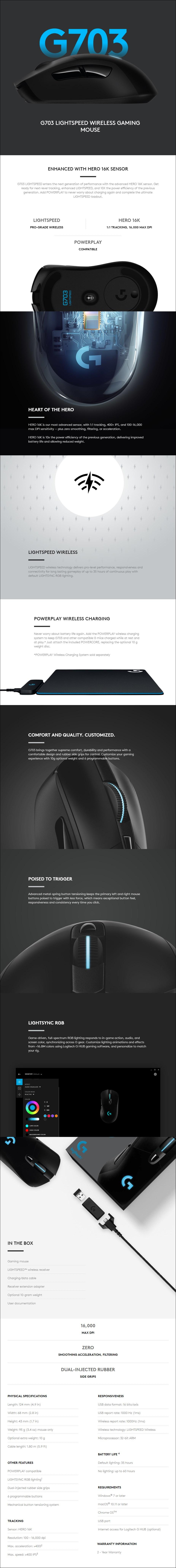 Logitech G703 HERO LIGHTSPEED Wireless Gaming Mouse - Overview 1