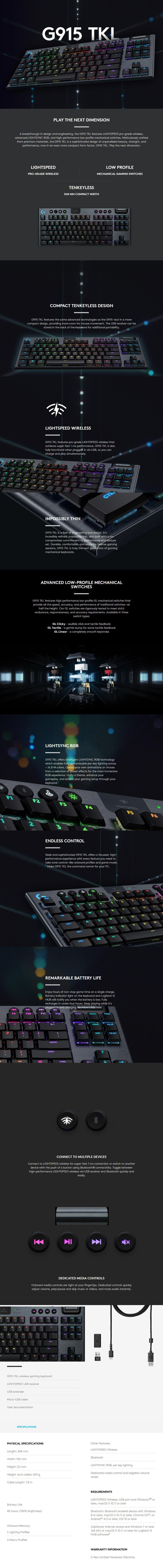 Logitech G915 TKL LIGHTSPEED Wireless Mechanical Gaming Keyboard - GL Tactile - Overview 1