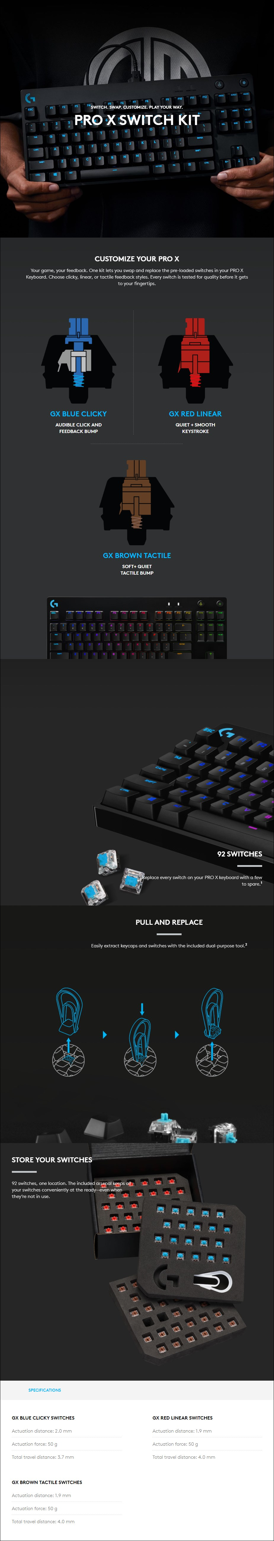 Logitech G Pro X 92-Key Mechanical Switch Kit - Linear - Overview 1