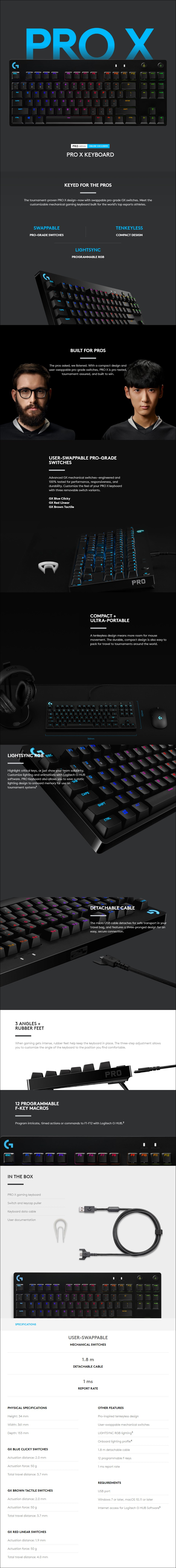 Logitech G Pro X TKL Modular Mechanical Gaming Keyboard - GX Blue Clicky