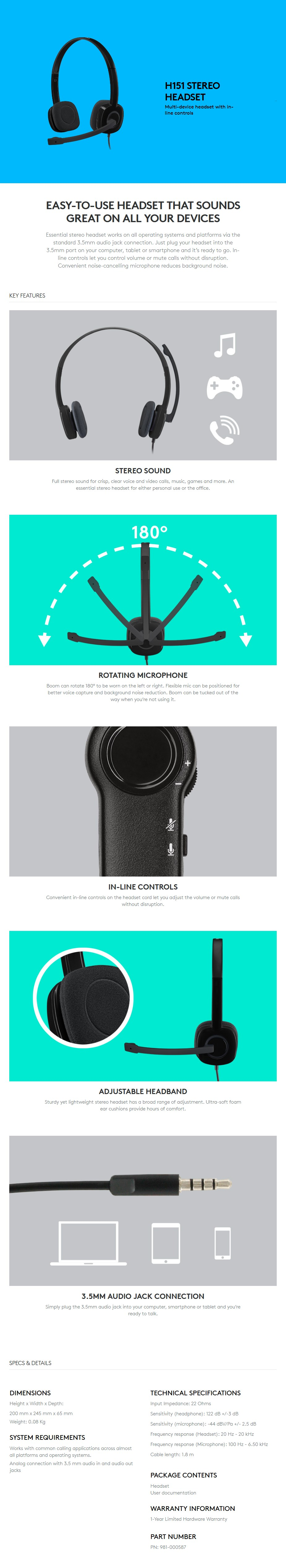 Logitech H151 Stereo Headset - Overview 1