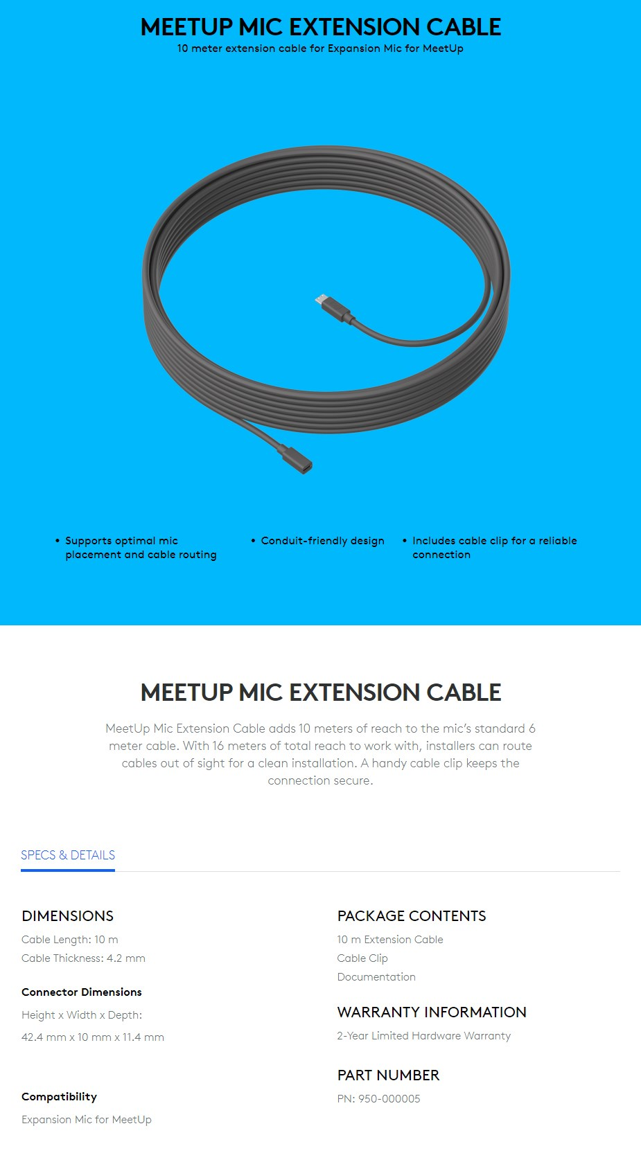 Logitech MeetUp Mic 10m Extension Cable - Overview 1