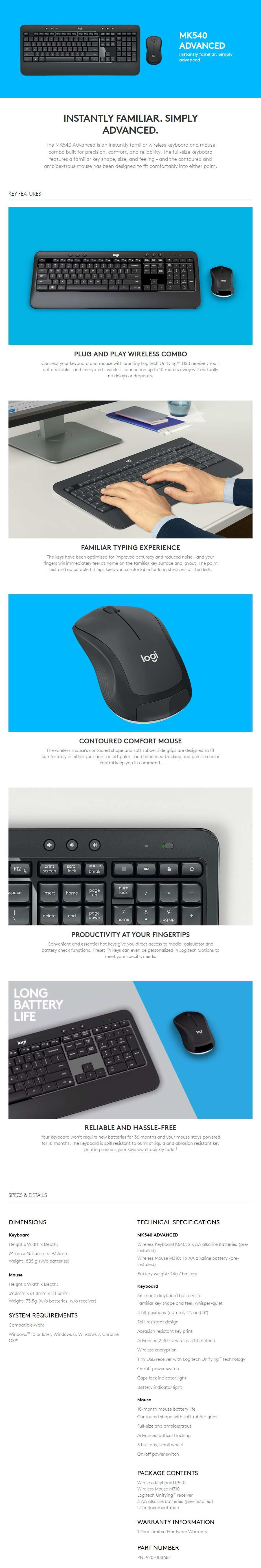 Logitech MK540 Advanced Wireless Keyboard and Mouse Combo - Overview 1