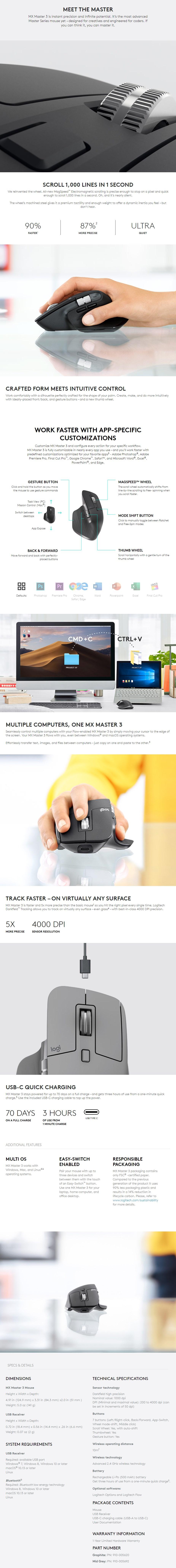 Logitech MX Master 3 Wireless Mouse - Graphite - Desktop Overview 1