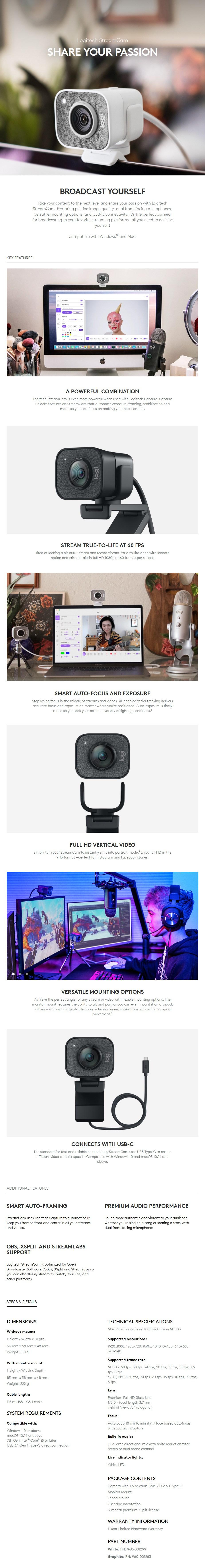 Logitech StreamCam Full HD USB-C Webcam - Graphite - Overview 1
