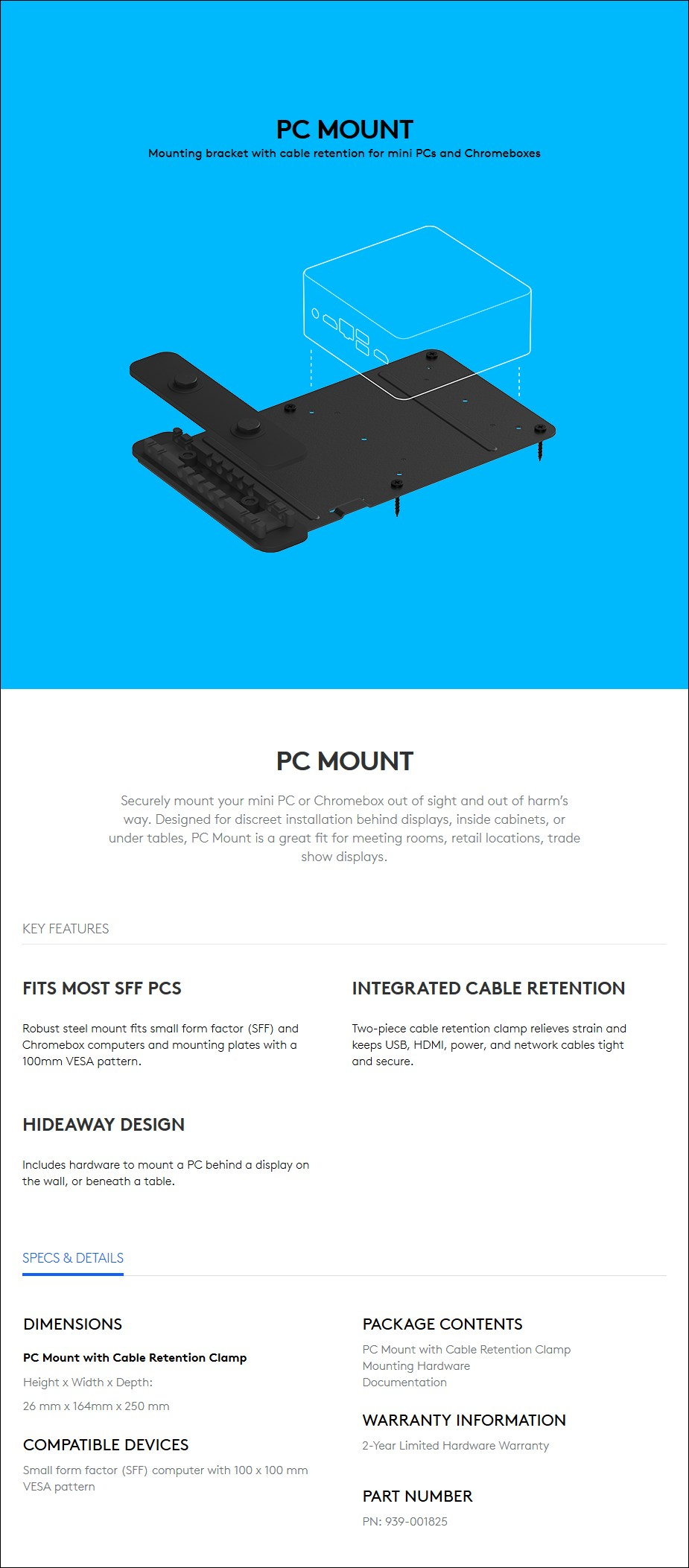 Logitech Tap PC Mount - Overview 1