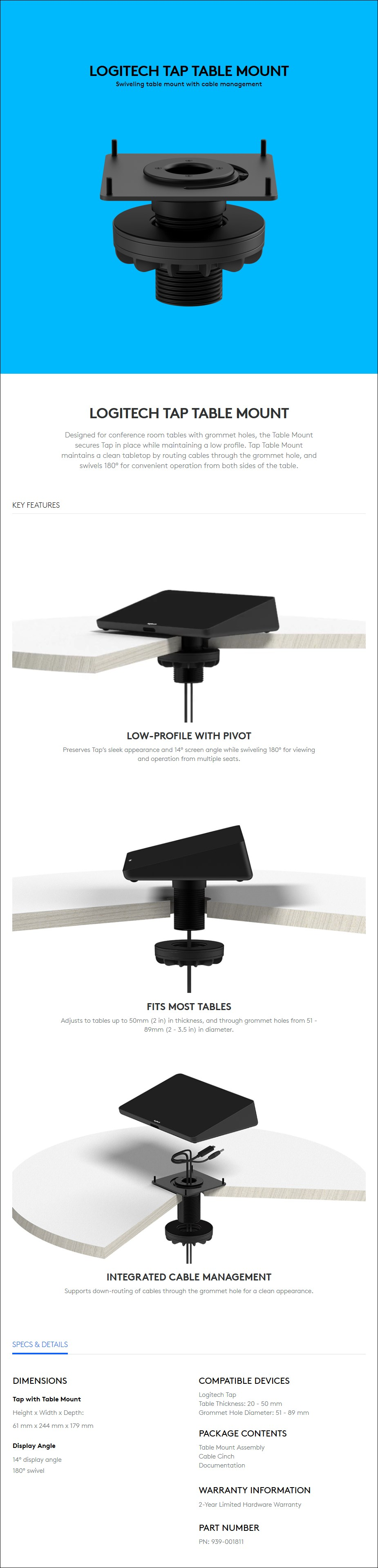 Logitech Tap Table Mount - Overview 1