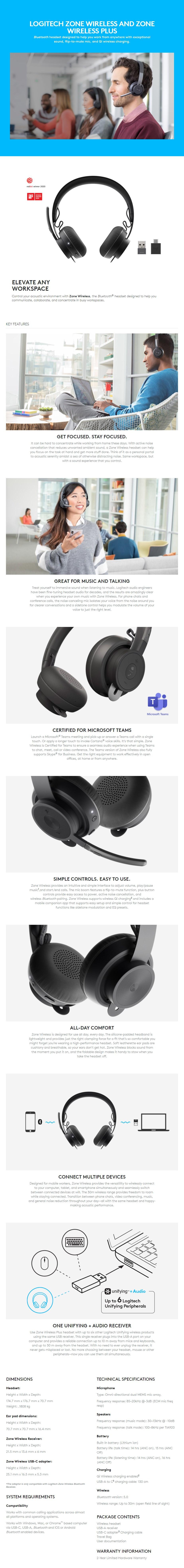 Logitech Zone Wireless Bluetooth NC Stereo Headset - UC - Overview 1