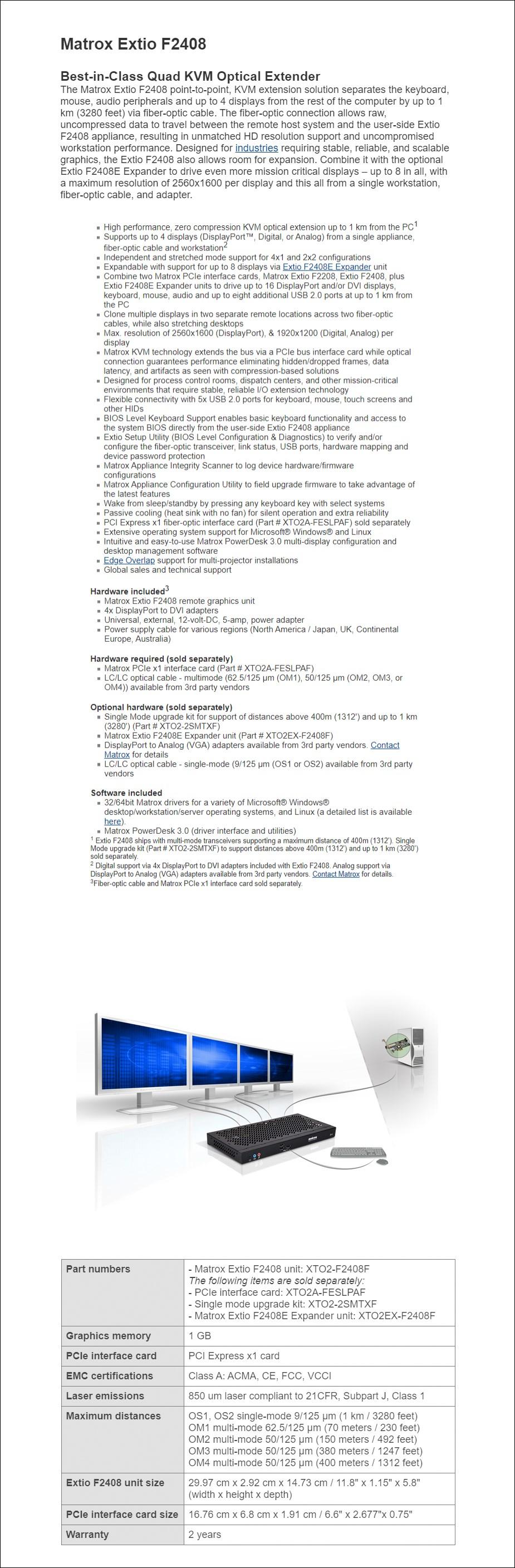 Matrox Extio F2408 Quad-Monitor KVM Extender - Overview 1