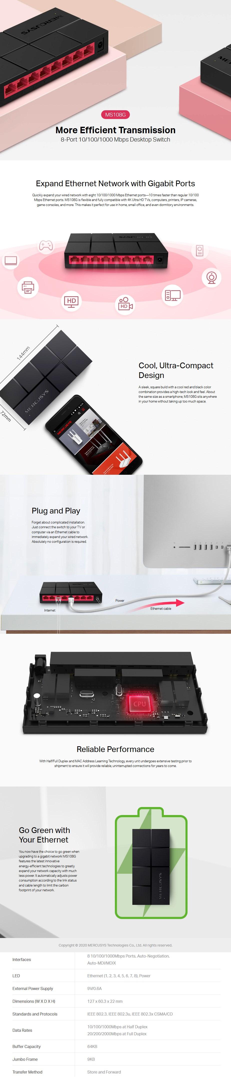 Mercusys MS108G 8-Port Gigabit Ethernet Desktop Switch - Overview 1